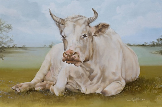 Cow painting Eulalie giclee print by pinkgloves2 on Etsy, $295.00