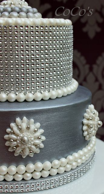 Silver and Pearl Glam Wedding Cake  ~ all edible
