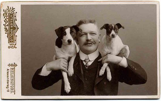 *Portrait, man & two dogs...Libby Hall Collection