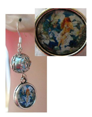 Silver Blue Fairy Glass Charm Earrings Handmade Jewelry Accessories