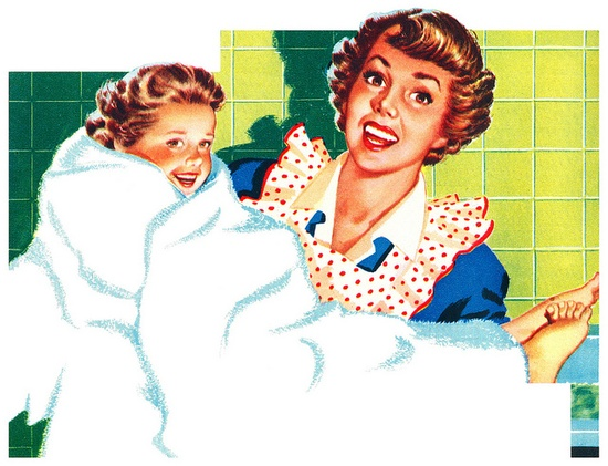 What a darling 1950s illustration that reminds me of the fun of nighttime bathes when I was a kid. #mom #bathroom #vintage #1950s #ad