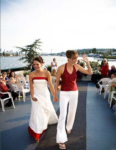 Red-and-white palette. #same-sex #weddings #lesbian #wedding