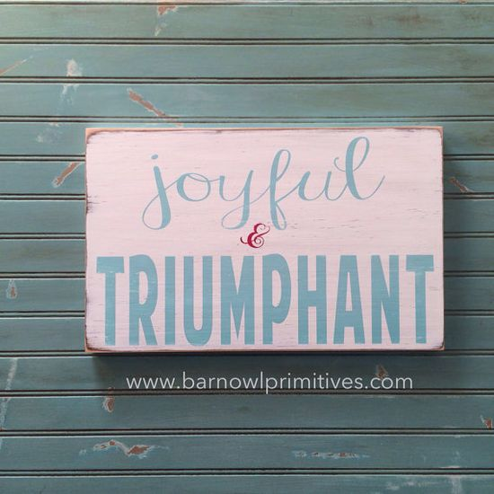 Joyful and Triumphant  hand painted art by barnowlprimitives on Etsy