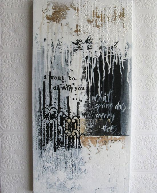 abstract painting  black and white acrylic on canvas  by ancagray, $135.00