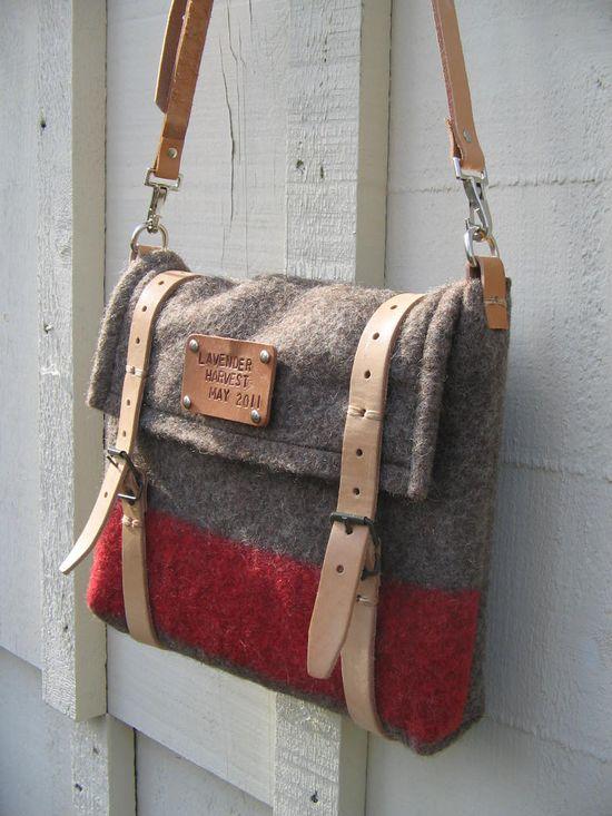 Handmade laptop messenger bag