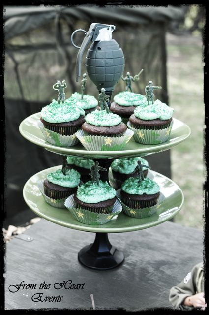 Camo cupcakes at a  Military Party.  See more party ideas at CatchMyParty.com.  #militarypartyideas