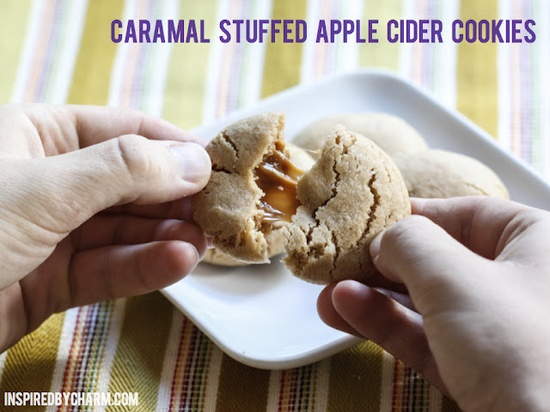 Caramel Stuffed Apple Cider Cookies // Fall Cookie Week - a little taste of autumn!