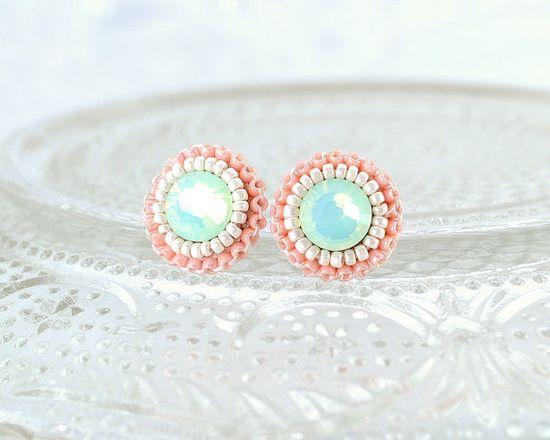 Peach, Coral & Ivory Stud Earrings