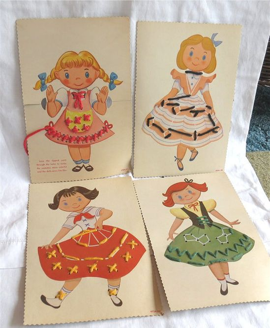 Vintage Toy Sewing Cards / Vintage Childrens by LemonTreeVintage