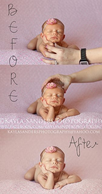 Great flickr group showing composite techniques for safe newborn photos.  It's PHOTOSHOPPED, other wise it could injure the newborn.