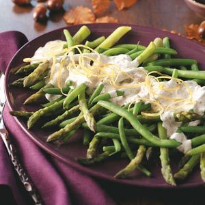 Asparagus and Green Beans with Tarragon Lemon Dip Recipe from Taste of Home -- shared by Bonnie Hawkins of Elkhorn, Wisconsin
