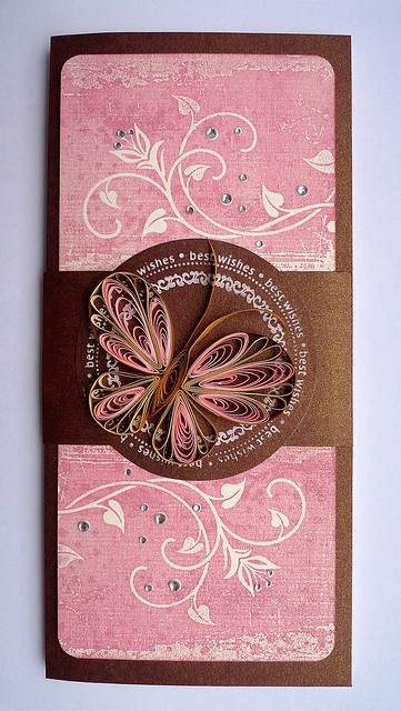 handmade card: Butterfly II by ..::aga::..  ... tall & thin ... pink & chocolate ... gorgeous quilled butterfly ... luv this card ...