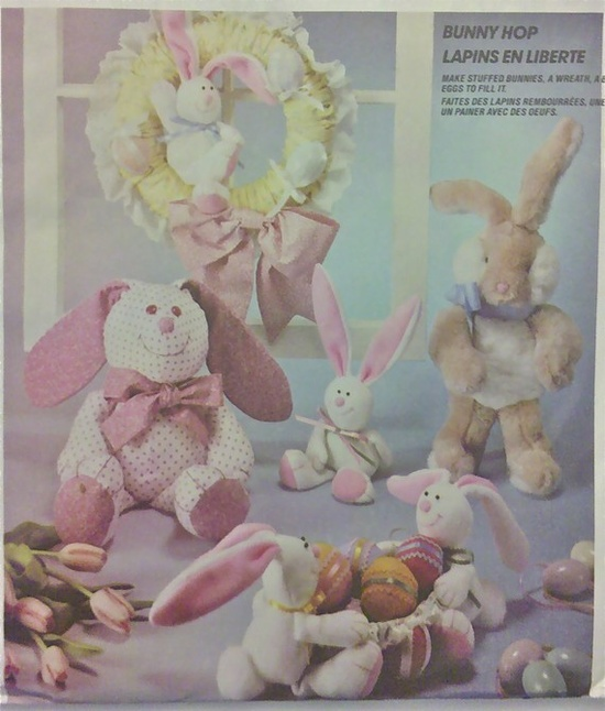 BUNNY Sewing Pattern - Stuffed Bunnies Easter Basket Egg & Wreath
