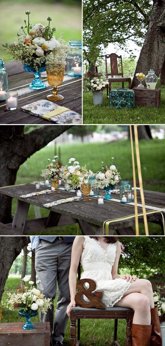picnic wedding set up : love the colored glass!