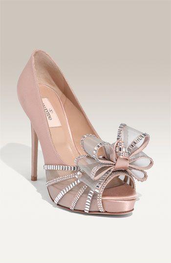 Blush bow heels- Valentino