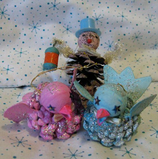 vintage style pinecone birdies!!