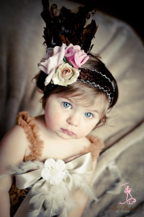 A Timeless Classic Couture Feathered Headband Love Baby J Boutique - Welcome to Love Baby J Couture - Boutique Clothing For Girls