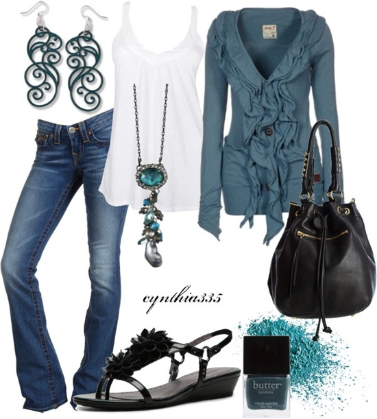Ruffled Cardigan, created by cynthia335 on Polyvore