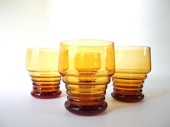 Vintage 1970's Amber Ridged Pedastal Juice Glasses, Set of 4