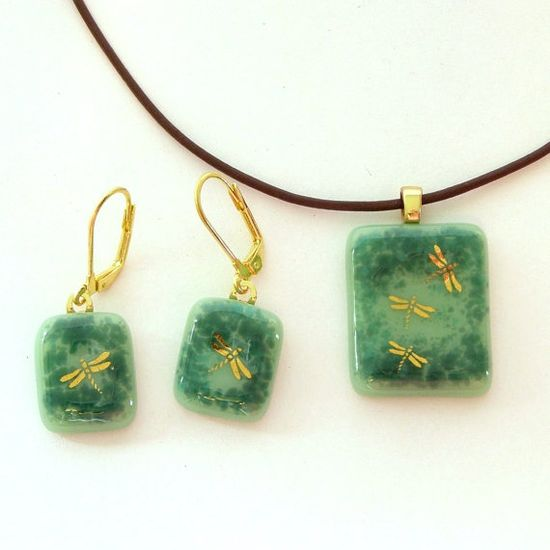 Dragonfly Fused Glass Pendant Necklace and by GreenhouseGlassworks