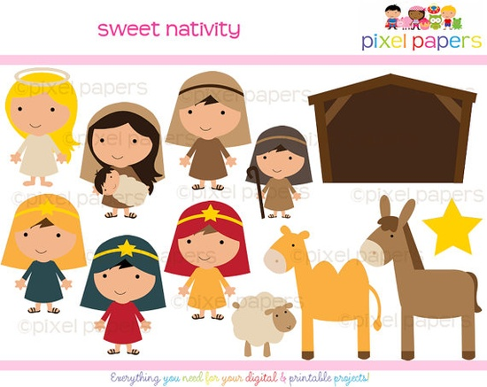 How cute is this Nativity clip art?