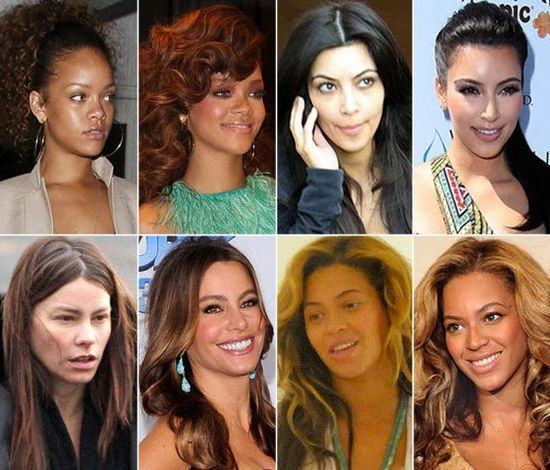 Celebrities With and without makeup - www.meme-lol.com
