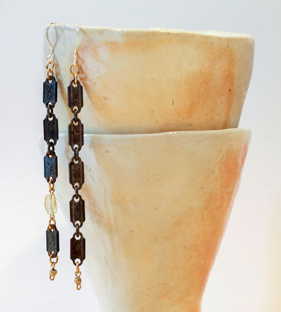 Asymmetrical Stamped Copper Dangle Earrings