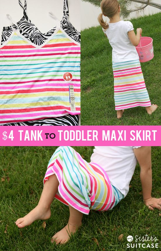 Make a Toddler-sized Maxi Skirt out of a juniors tank top! Easy 30 minute project via sisterssuitcasebl... #sewing #DIY