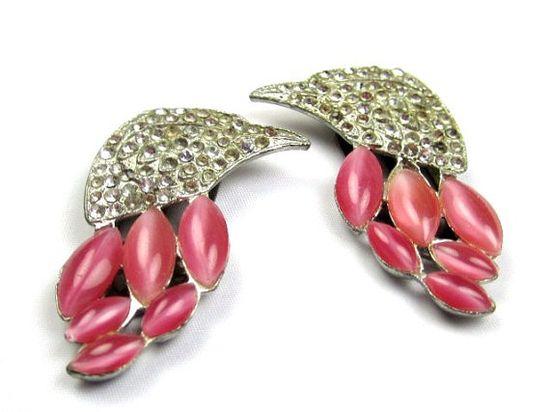 Art Deco Flamingo Moonglow Rhinestone Dress Clips by OurBoudoir, $138.00