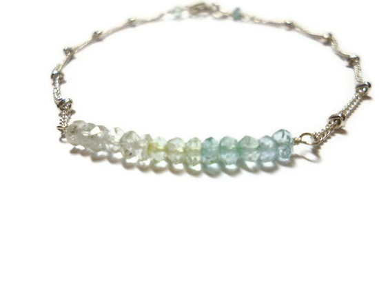 Aquamarine and sterling silver bracelet by crystalstonelondon, £18.00
