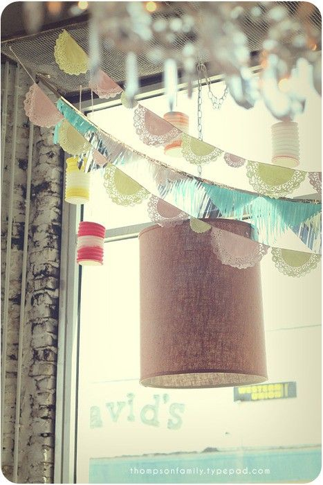 Dyed paper doilie bunting.