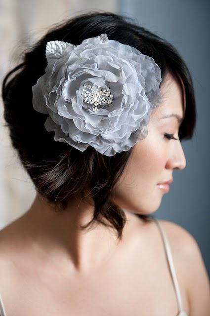 wedding hair accessory - #Silver #flower #fascinator
