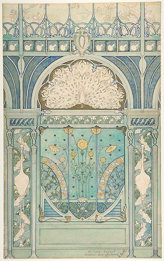 Émile Hurtré  (French, born Nice, active Paris ca. 1890-1900); Artist: Jules C. Wielhorski (French (?), active Paris ca. 1896-1898). Design for a Wall Decoration with Peacock, Cranes, and Sunflowers for the Restaurant in Hotel Langham (Paris), 1896-1898. The Metropolitan Museum of Art, New York. Edward Pearce Casey Fund, 1991 (1991.1288)