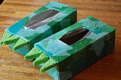 Tissue Box Dinosaur Feet.