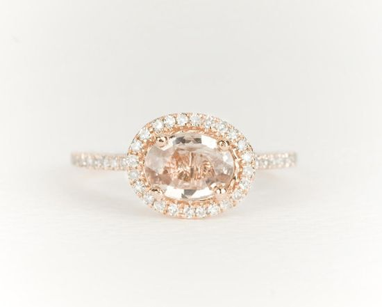 Champagne Oval Sapphire Diamond Halo 14k Rose Gold Engagement Ring $1,030.00