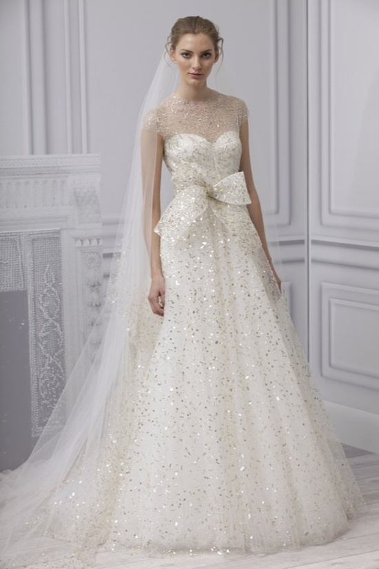 This shimmering Monique Lhuillier gown makes a retro look work in 2013. #wedding