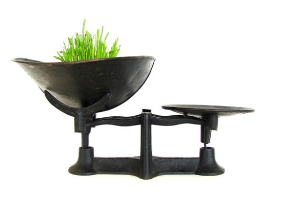 Vintage Industrial Black Cast Iron Scale with Basket by ThirdShift, $185.00