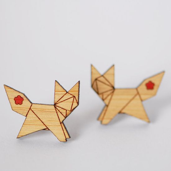 Origami Fox Stud Earrings - Sustainable Bamboo and Hand Painted