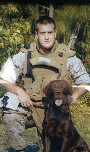 """Rebecca's War Dog of the Week: A soldier's last words. Lance Cpl. William """"Billy"""" H. Crouse IV and his bomb-sniffing dog Cane were hit by a roadside bomb while on patrol in Afghanistan.  While being lifted into the medevac the wounded handler had the emotional wherewithal to insist the soldiers around him to save his dog.  """"'Get Cane in the Blackhawk!' Crouse cried out before losing consciousness.""""  Apparently, those were his last words. Neither Crouse nor Cane survived."""