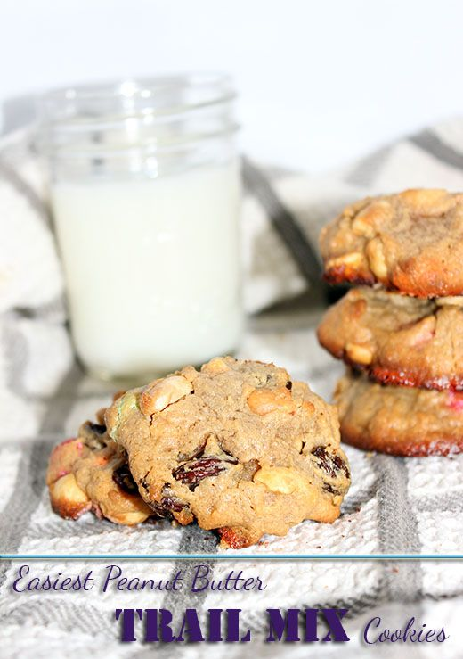 Easiest Peanut Butter Trail Mix Cookies #Recipes #Cookies #Desserts