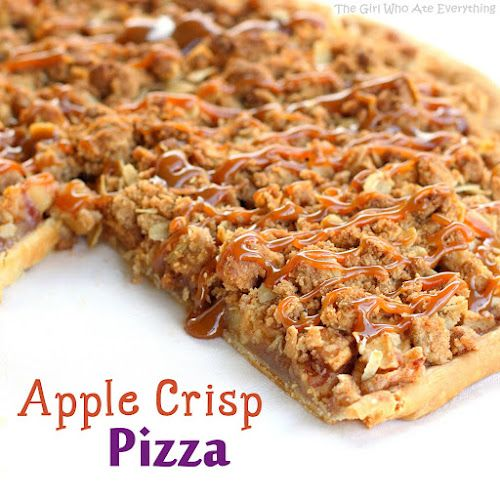 Warm Apple Crisp Pizza-- I didn't have the perfect crust but it was so delicious!!!!