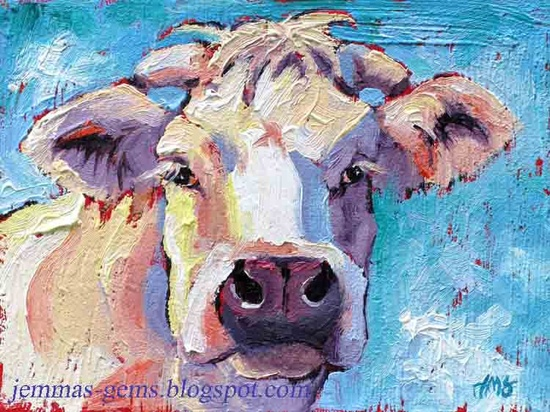 Cow Painting Patriotic Cow Art White Cow Giclee by JemmasGems