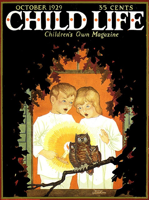 Hoot Owls--Vintage Halloween Illustration--Child Life Magazine Cover