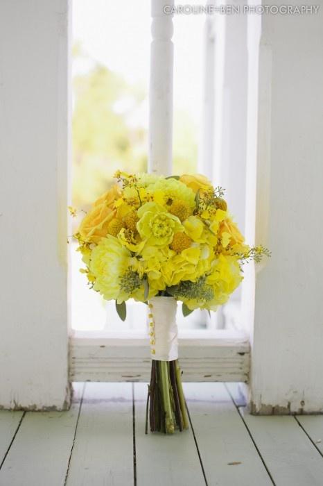 yellow wedding flower details