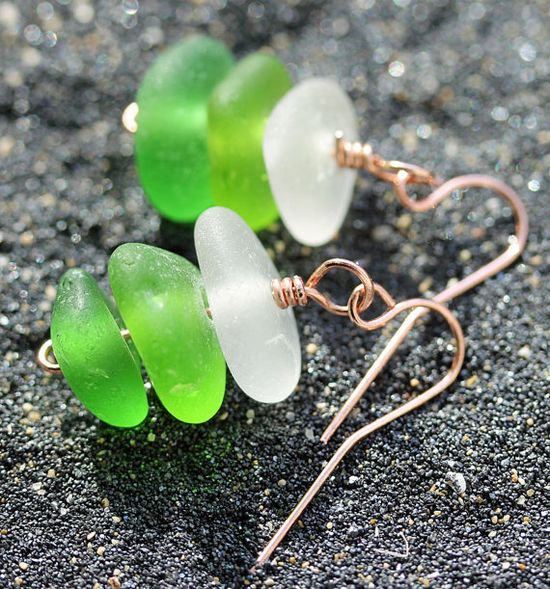 Sea Glass Earrings, Stacked, Green sea glass, Beach glass Jewelry.