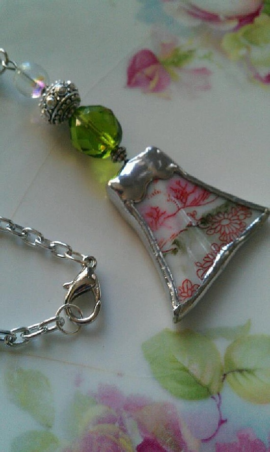 Dainty Pink and Green Broken China Necklace by Mysticglassduo, $24.00