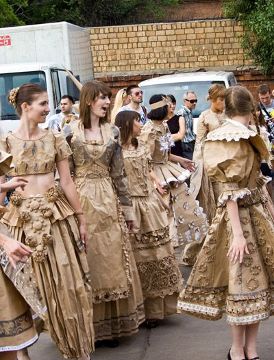 dresses from cardboard and paper