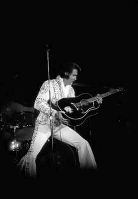 Elvis Presley on stage performing at the Nassau Veterans Memorial Coliseum in Uniondale, New York. (June 22, 1973) Photo Credit: Newsday/Jim Peppler