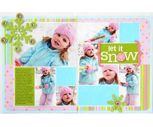 winter 2-page layout for Scrapbooks etc.