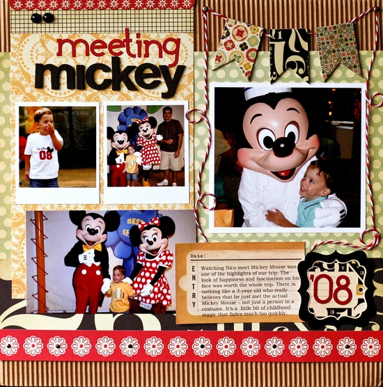Meeting Mickey scrapbook layout